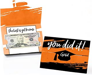 product image for Big Dot of Happiness Orange Grad - Best is Yet to Come - Orange Graduation Party Money and Gift Card Holders - Set of 8