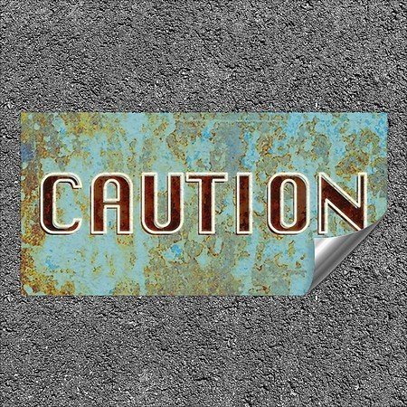 CGSignLab |''Caution -Ghost Aged Blue'' Heavy-Duty Industrial Self-Adhesive Aluminum Wall Decal | 24''x12''