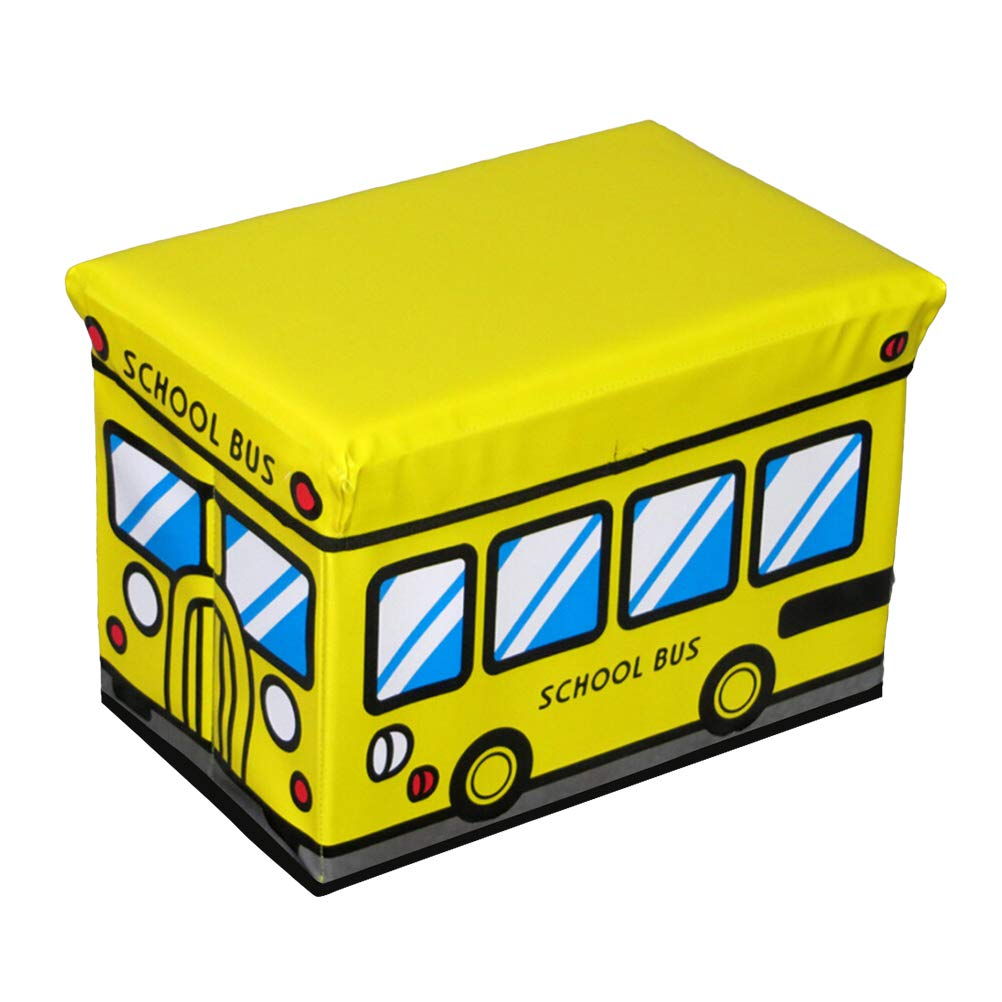 TOPBATHY Foldable Storage Bins with Lids School Bus Pattern PU Storage Box Basket Containers Organizer Bench for Home Bedroom Clothes Toys Closet (Yellow)