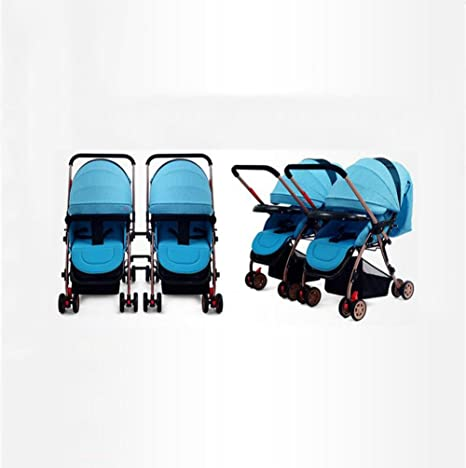 Doble Cochecito De Bebé Reversible Reclinable Shock Desmontable Plegable Doble Carro,Blue
