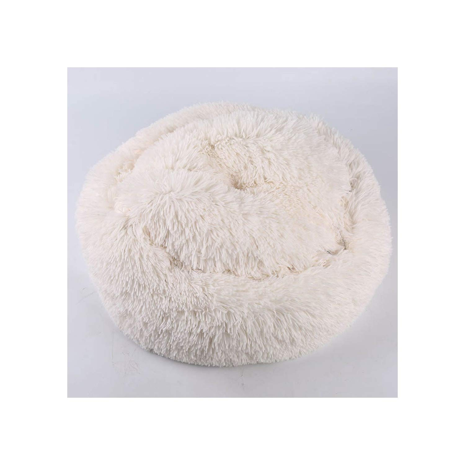 Warm Fleece Dog Bed Round Pet Lounger Cushion for Small Medium Large Dogs & Cat Winter Dog Kennel Puppy Mat,White,S