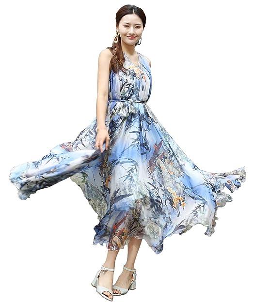 11a62577a84f Medeshe - Vestito - Triangolo - Senza Maniche - Donna Blue Bamboo Leaves  Lunghezza  115