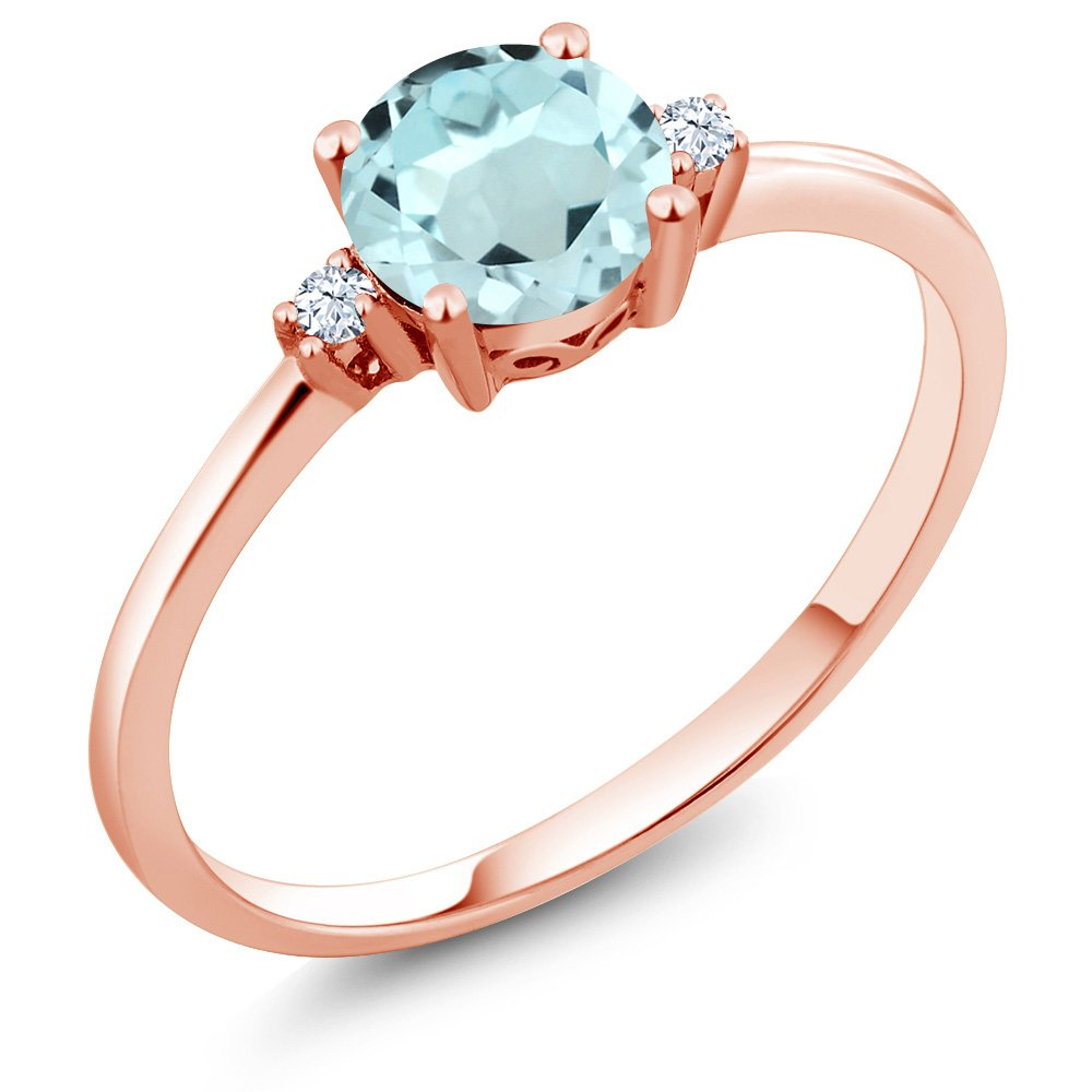 Gem Stone King 10K Rose Gold Sky Blue Topaz and White Created Sapphire Women's Engagement Solitaire Ring (0.93 Ct Round Cut, Available in size 5, 6, 7, 8, 9) by Gem Stone King