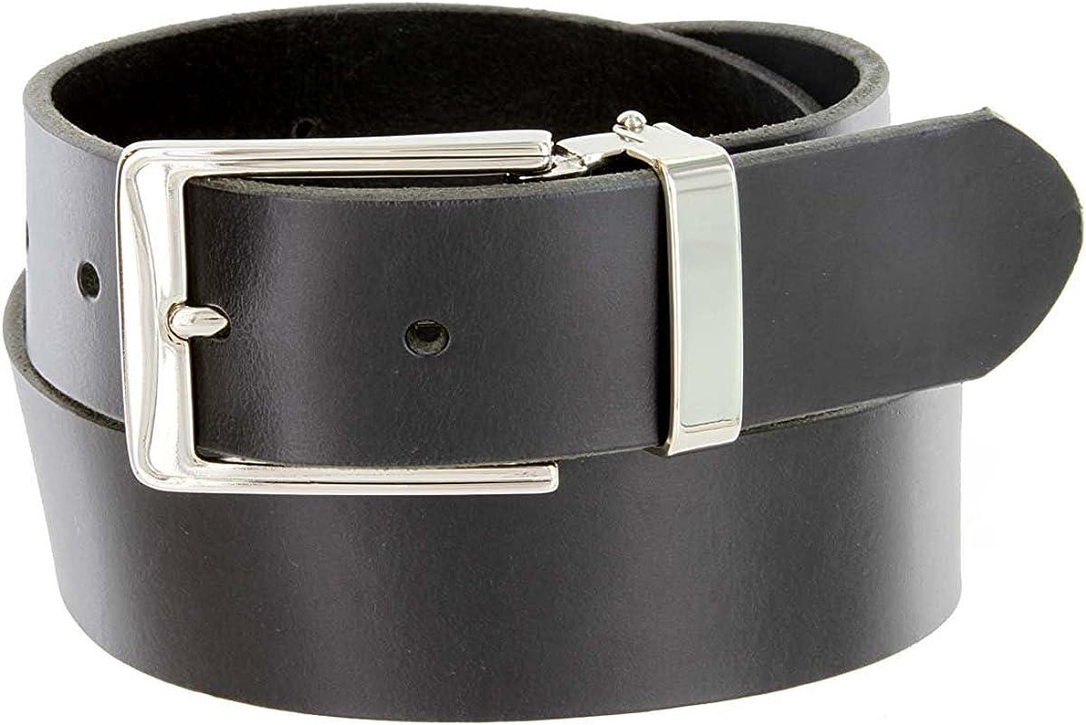 Hagora Men 1.375 Wide Black Smooth Genuine Cowhide Square Nickel Buckle Belt