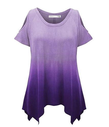LemonGirl Women's Off Shoulder Irregular Hem T-Shirt Blouse Tops