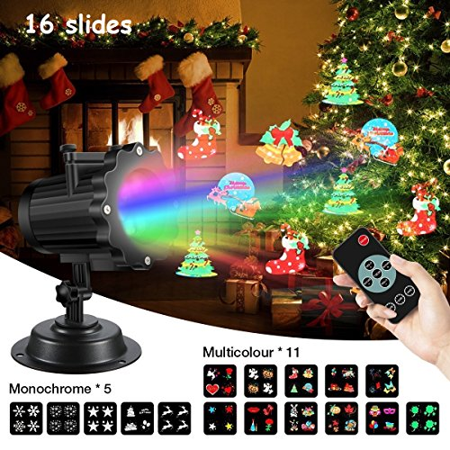 Led Projector Light,SGODDE 16 Slides Projection Light with Remote Control,Outdoor&Indoor Decoration Lighting,IP44 Waterproof Landscape Garden Spotlight,Best for Party,Holiday,Halloween,Christmas ()