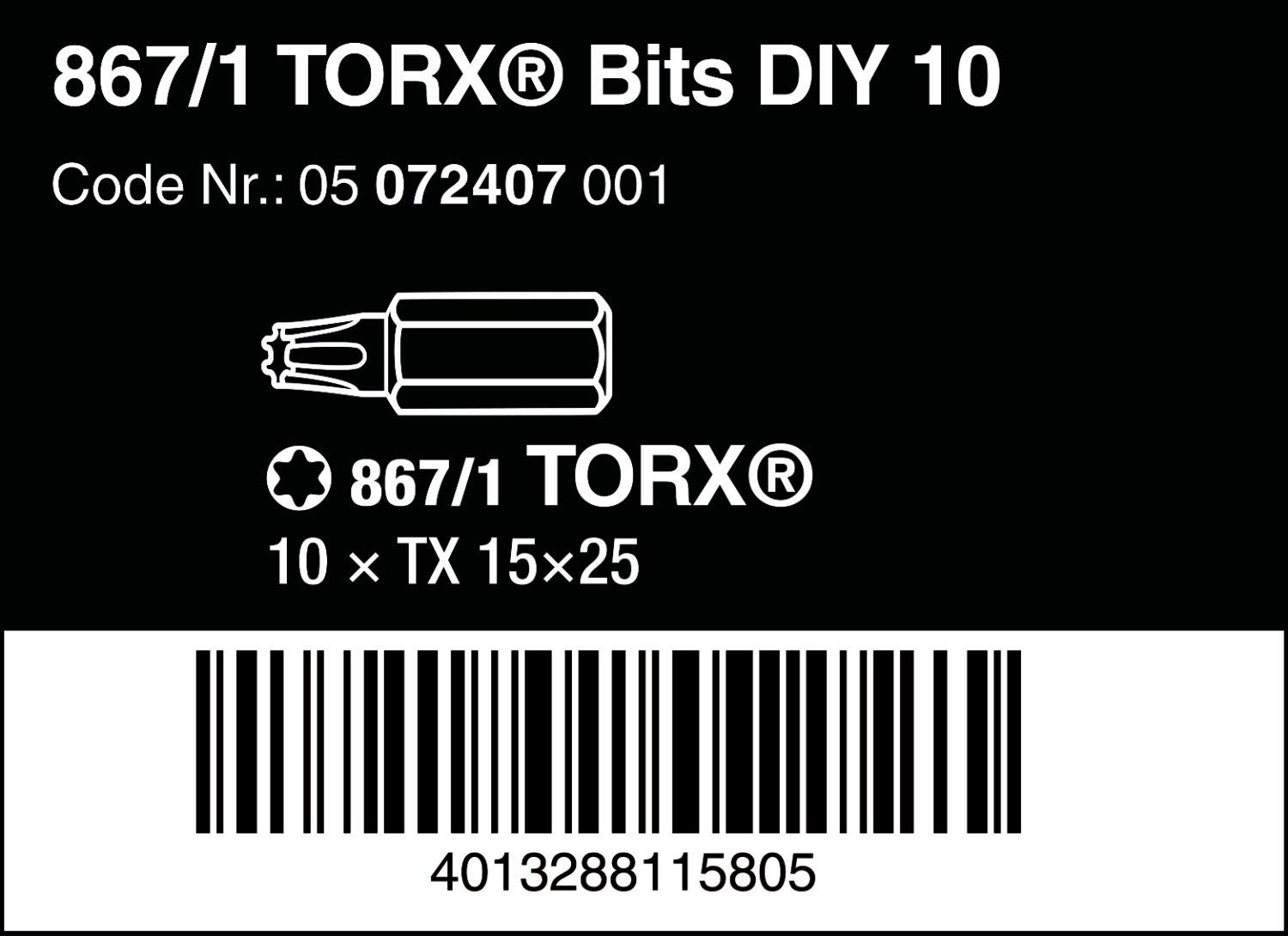 TX 15 x 25 mm 10 Bits pro Box 867//1 DIY Inserti TORX