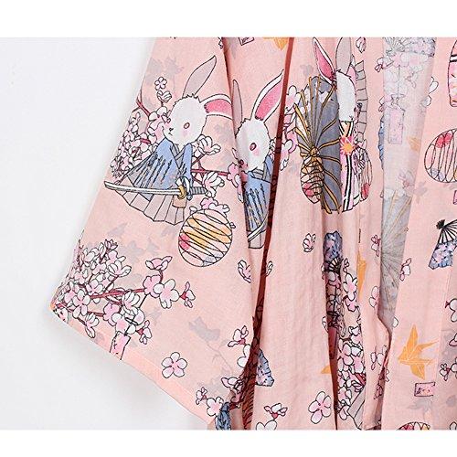 Accappatoio Pigiama Robe Pumpkin Pray Yukata donna completo da Pink Kimono Rabbits taglia L Fancy wCx0qY0