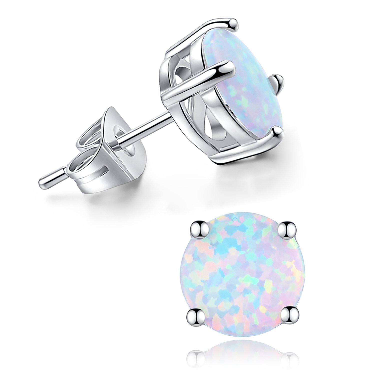 DESIMTION 18K Gold Plated Round White Fire Opal Stud Earrings for Women Girls 6mm 8mm (8 mm)