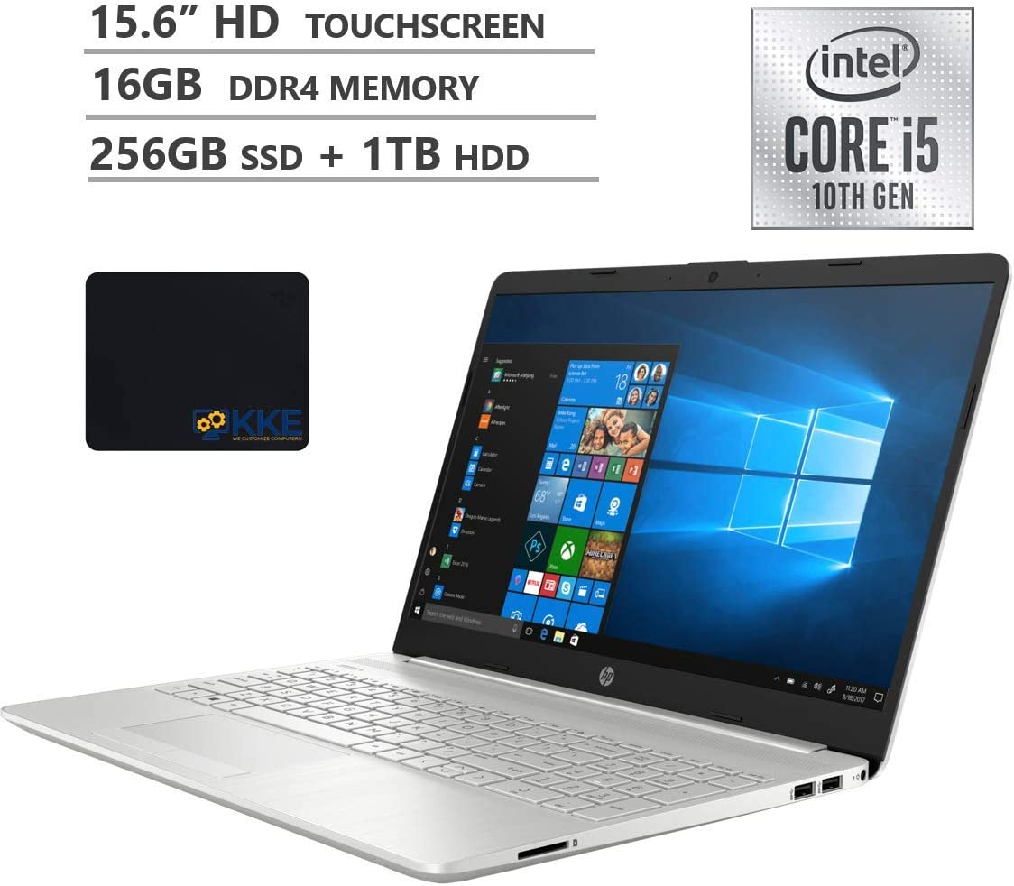 """2020 Newest HP Pavilion 15 Laptop, 15.6"""" HD Touchscreen, 10th Gen Intel Core i5-1035G1 Processor up to 3.6GHz, 16GB DDR4 RAM, 256GB PCIe SSD+1TB HDD, BacklitKeyboard, HDMI, Win10, Silver, KKE Mousepad"""