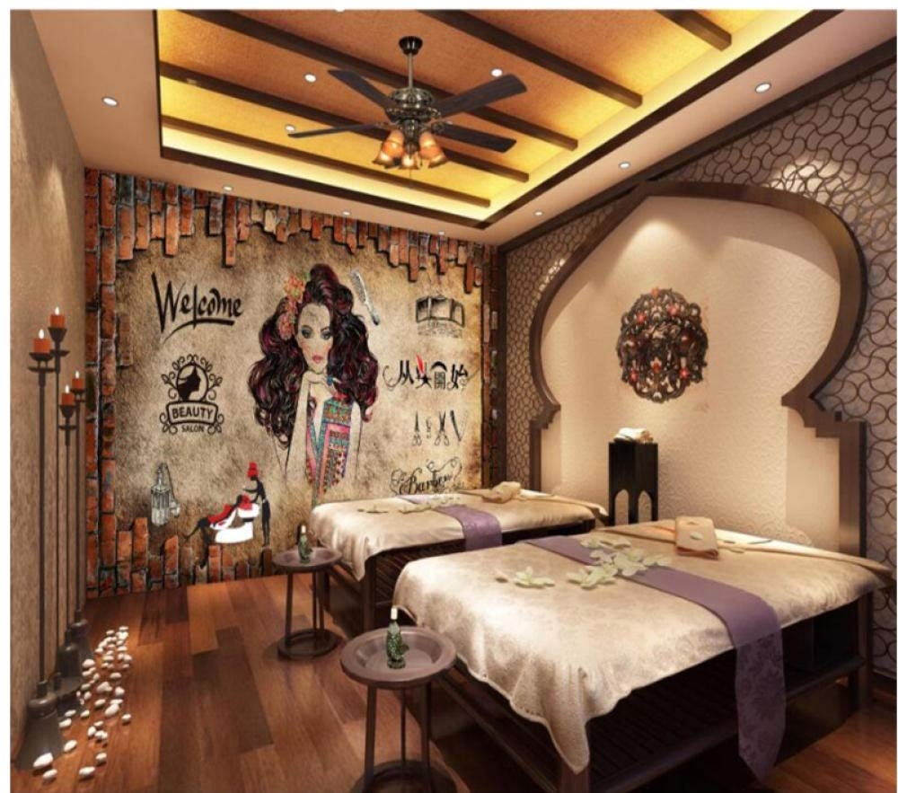 Amazon Com Fifikoj 3d Wallpaper Murals Nostalgia Vintage Make Up Beauty Salon Hair Salon Background Barbershop Wall Paper 200x140cm Baby