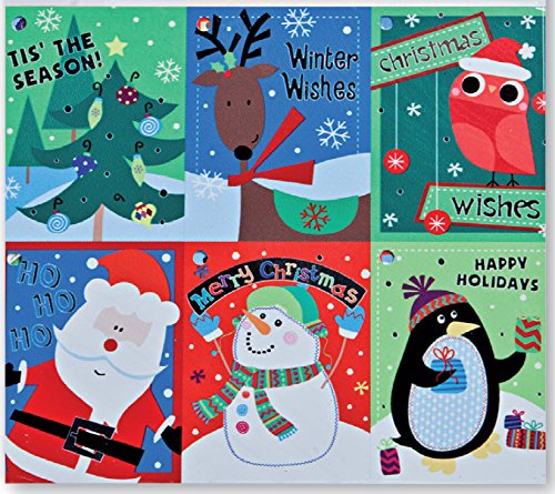 Christmas Gift Tags Embelished Foil Finish Holiday Present Name Tags 48 Big Hangers in 6 Assorted Designs Santa, Penguin, Snowman, Reindeer, Owl, Tree, Bird