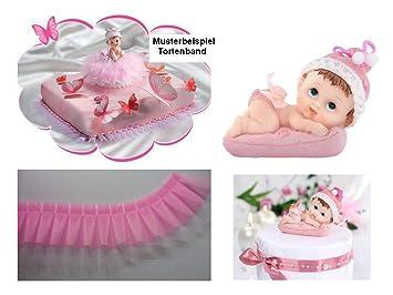 Torten Deko Set Babyparty Taufe Geburt 1geburtstag Mädchen 2 Teilig Kuchendeko Tortenfigur Tortenkerze