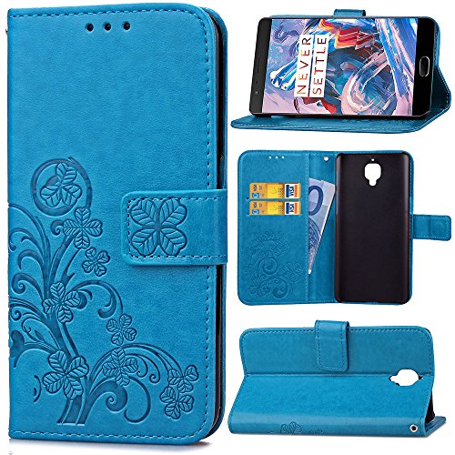 Wallet Flip Leather Case Cover For OnePlus 3T / OnePlus 3 (Blue) - 6