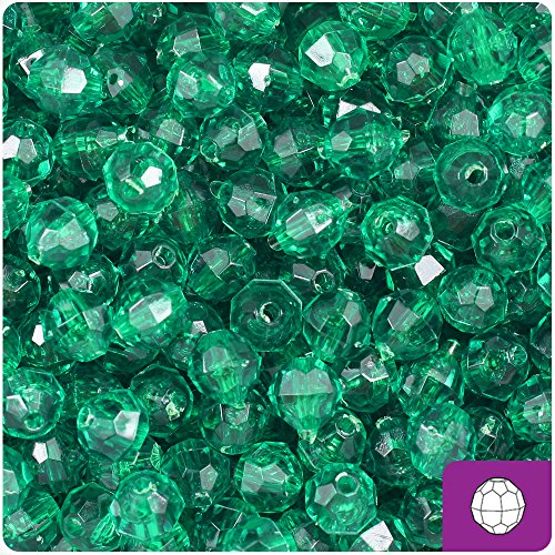 BeadTin Emerald Green Transparent 8mm Faceted Round Craft Beads (450pcs) ()