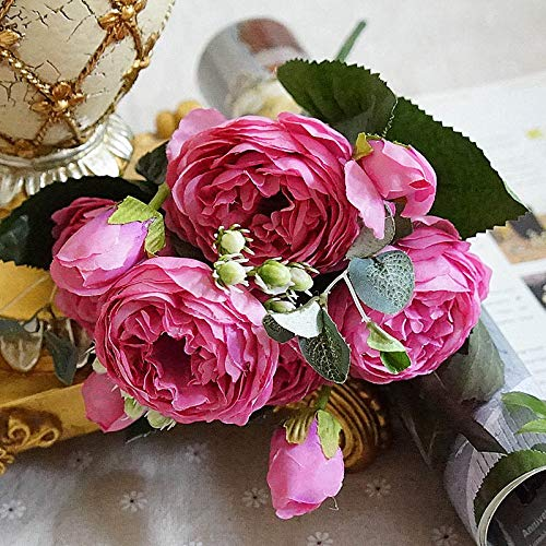 CoronationSun - Artificial Flower Peony - Peony Artificial Flowers Silk Flower Rose Peonies Bouquet for Home Party Wedding Decoration Length:30cm