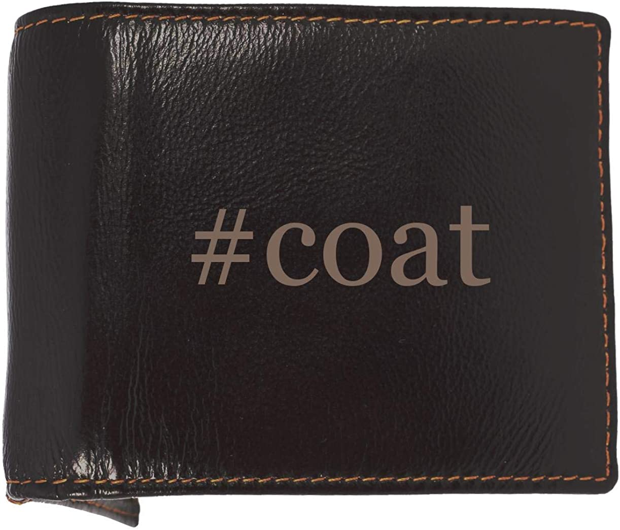 #coat - Soft Hashtag Cowhide Genuine Engraved Bifold Leather Wallet