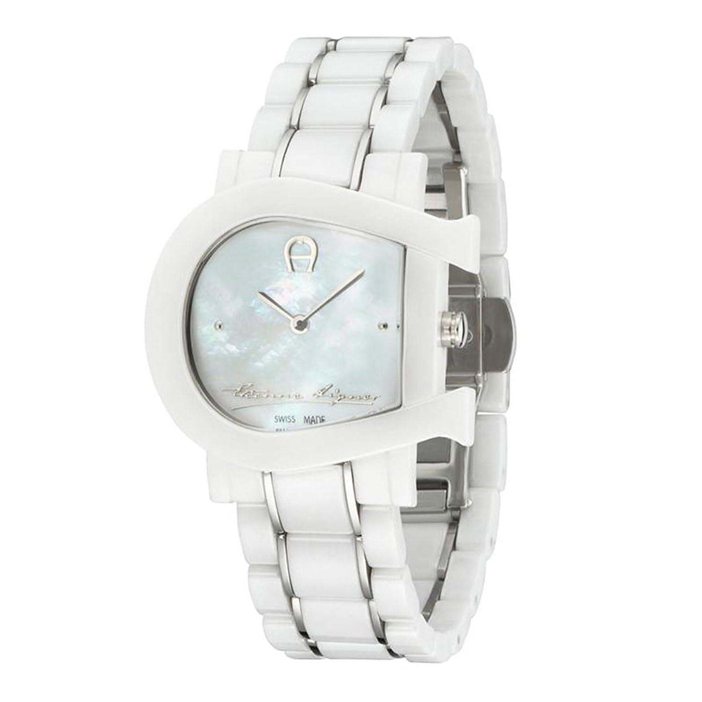 Aigner Damen Uhr Armbanduhr Genua Due weiß Keramik silber A31643