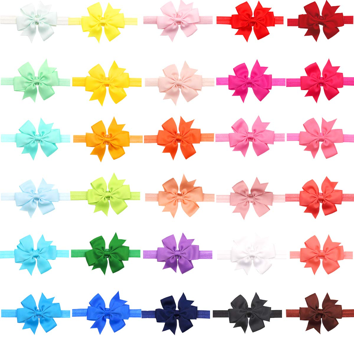 30PCS Colors Baby Girls Headbands with 3 Hair Bows Elastic Hair bands for Newborn Infants Toddlers