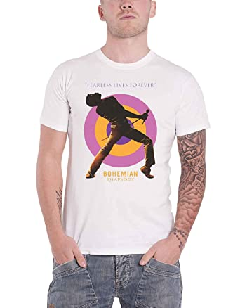 587be07e2 Amazon.com: Queen Official Bohemian Rhapsody T Shirt Fearless Movie  Official Mens White: Clothing