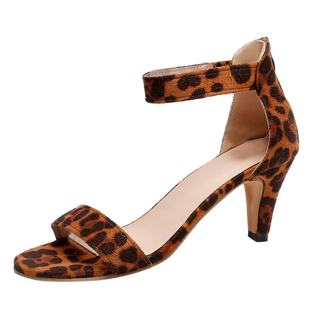 Seaintheson Women's Fish Mouth Zipper Sandals Summer Ankle High Heels Party Open Toe Shoes Brown