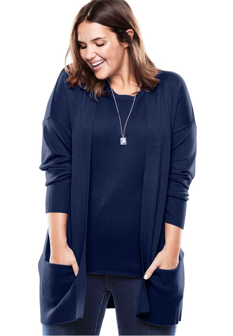 Women's Plus Size Fine Gauge Open Front Cardigan
