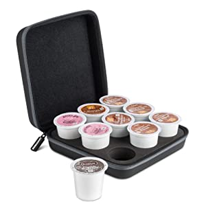 ROMAUNT Coffee Pods Holder Compatible For K-Cup, Accessory For Portable Camping Coffee Maker, Protective Travel Carrying Case Single Serve Manual Machine Brewer, Holds 9 Count