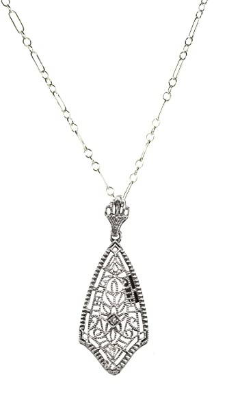Amazon jansjewells edwardian style filigree pendant with jansjewells edwardian style filigree pendant with diamond accent in sterling silver aloadofball Image collections