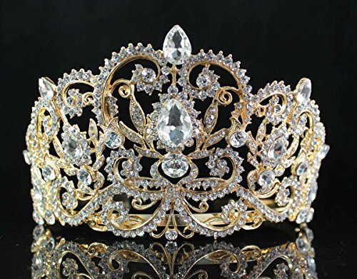 Janefashions Victorian Clear White Austrian Rhinestone Crystal Princess Queen Birthday Beauty Pageant Tiara Crown Hair Combs Bridal Prom T1505g Gold