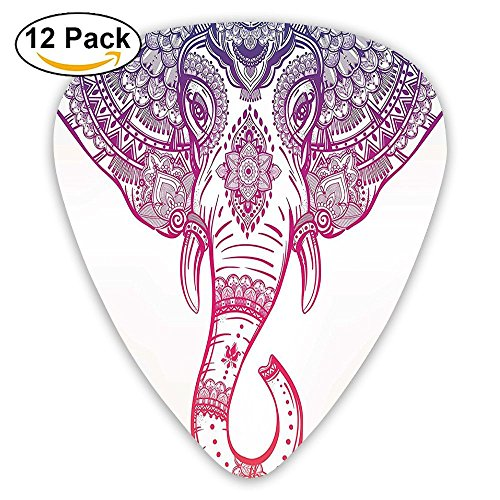 Newfood Ss Boho Style Elephant With Tribal Ornaments Guitar Picks 12/Pack Set