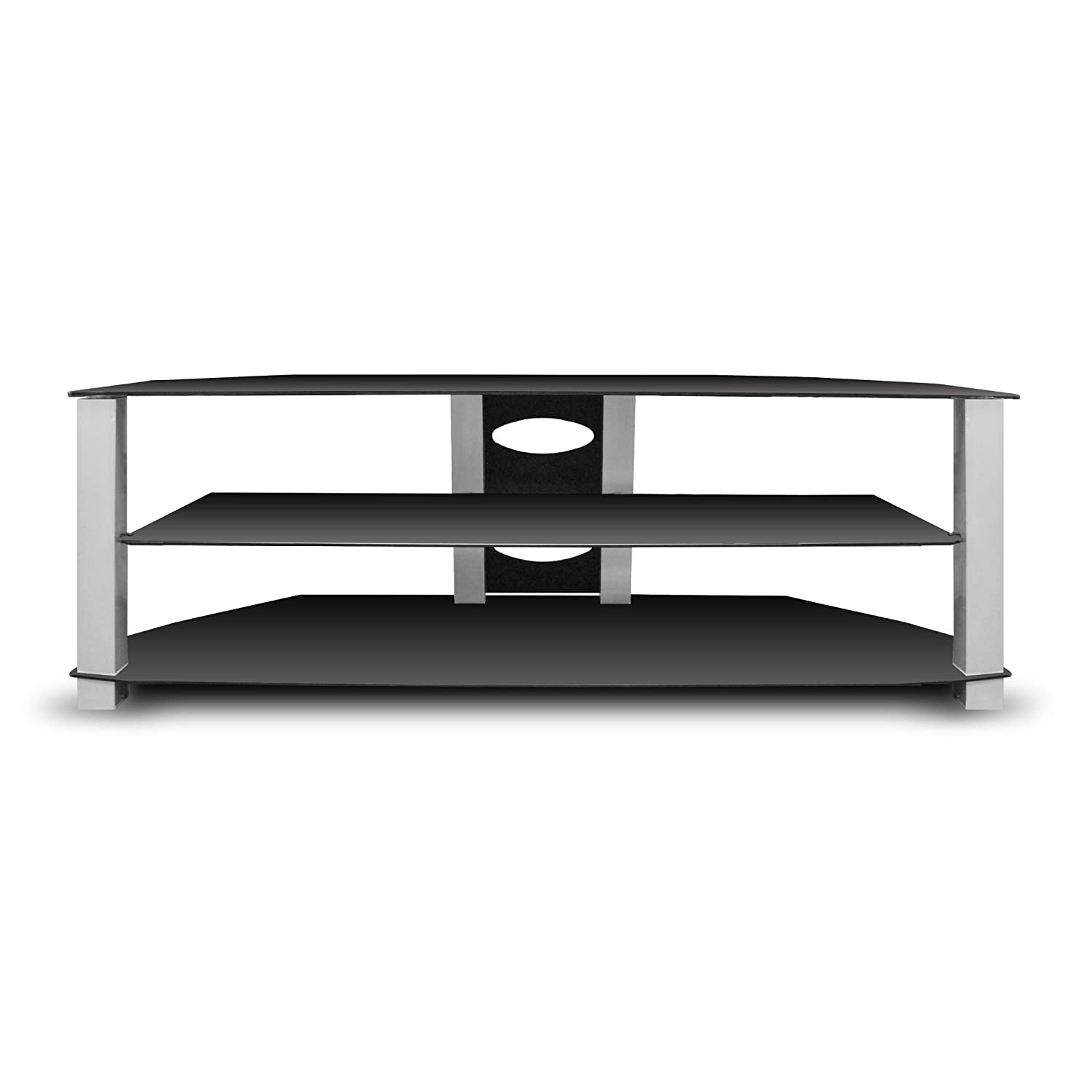 Amazon Com Ematic Metal Tv Stand With Tempered Glass Shelves For