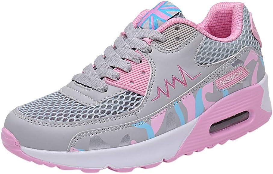Mujeres Zapatillas Deportivas, Mujer Zapatillas de Mallas con Cordones Plataforma Zapatos Deportivos Running Fitness Zapatos Planos Gris 38: Amazon.es: Zapatos y complementos