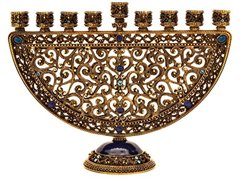 Menorah Pewter Decorative - Ciel Collectables Decorative Menorah, Hand Set Swarovski Crystal, Hand Painted Blue Enamel Over Solid Pewter Base, It Holds 9 Small Candles, L 8.00 x H 6.00