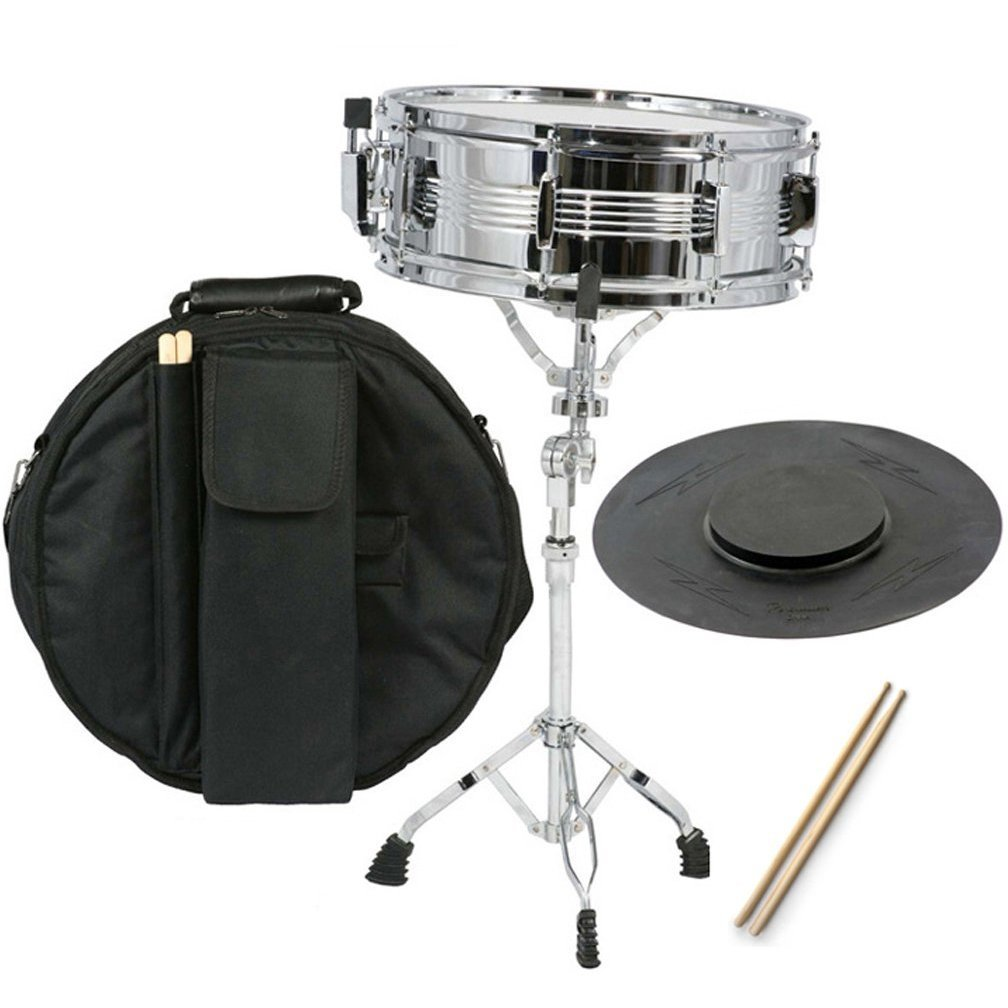 Gammon Percussion SNAREKIT New Student Snare Drum Set with Case, Sticks, Stand and Practice Pad Kit, Chrome