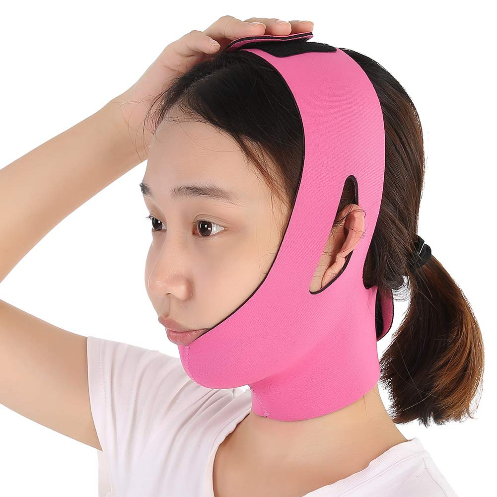 Facial Slimming Mask Face BandageNylon & Polyester for Face Care Thin Neck Facelift Double Chin for Women(Orange and Rose Red)(Rose Red) Sonew