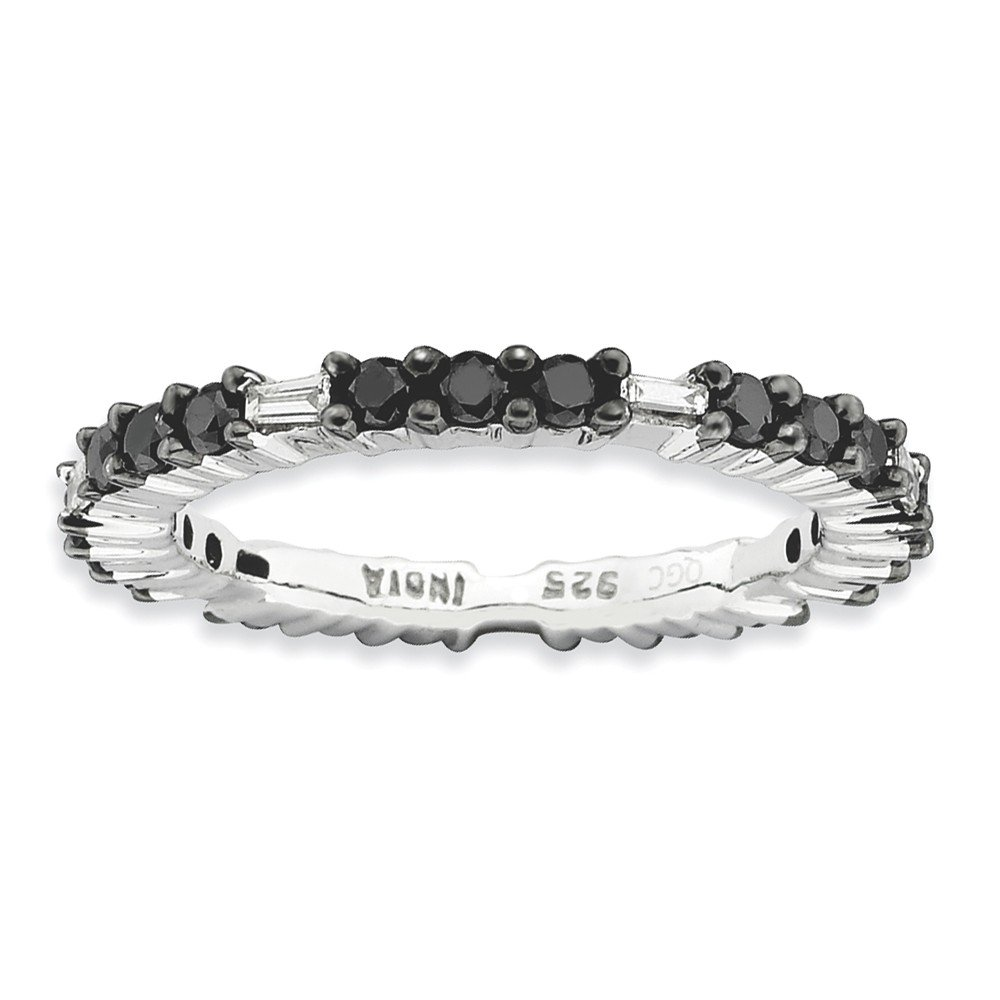 Roy Rose Jewelry Sterling Silver Stackable Expressions Black Diamond Ring Size 5