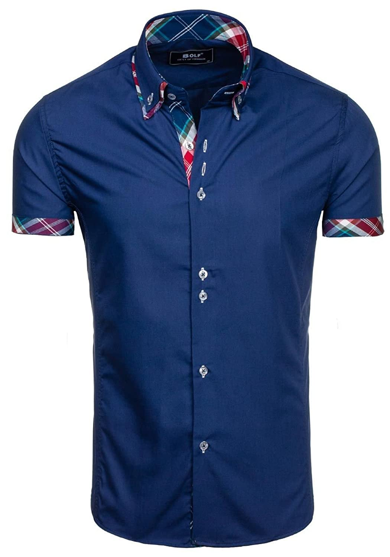 Details zu Herren Hemd Freizeithemd Herrenhemd Langarm Slim Fit Kurzarm BOLF 2B2 Casual