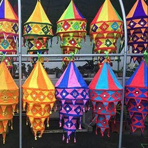 Indian Decorative Cotton Fabric Lamp Shade Handmade Cotton Lantern Collapsible Vintage Embroidered Chandelier Lampshade 10 Pcs Mix Lot ()