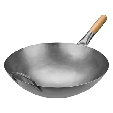 Timoney Carbon Steel Pow Wok Traditional Hand Hammered Stir-Fry Pan with Helper Wooden Handle (14 Inch, Round Bottom Wok)