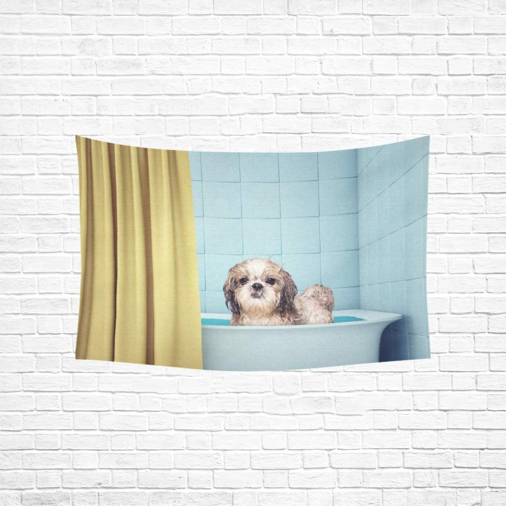 Alfreen Tapestry Art Decor Tapestry Cute Wet Shitzu Dog In The Bath Picture Id Tapestries Wall Hanging Flower Psychedelic Tapestry Wall Hanging Indian Dorm Decor for Living Room Bedroom Art Decor