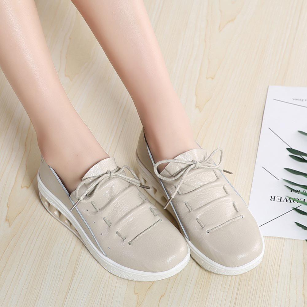 Clearance Sale Shoes For Women,Farjing Fashion Women Air Cushion Round Head Breathable Leisure Sports Shoes Shake Shoes(US:6,Khaki)