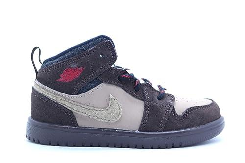 d1743b7ebab4 Nike  554727-205  AIR Jordan AJ 1 MID Flex Toddlers Sneakers AIR  JORDANBAROQUE BRN Gym RED-KHK-BLCKM  Amazon.ca  Shoes   Handbags