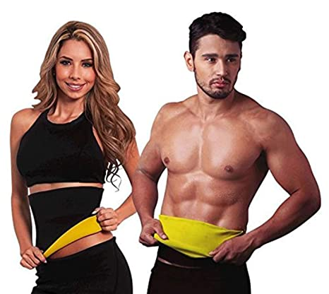 c7af63d215 Buy Hot Shapers Sweat Waist Trimmer Fat Burner Belly Tummy Yoga Wrap Black  Exercise Body Slimming Belt Online at Low Prices in India - Amazon.in