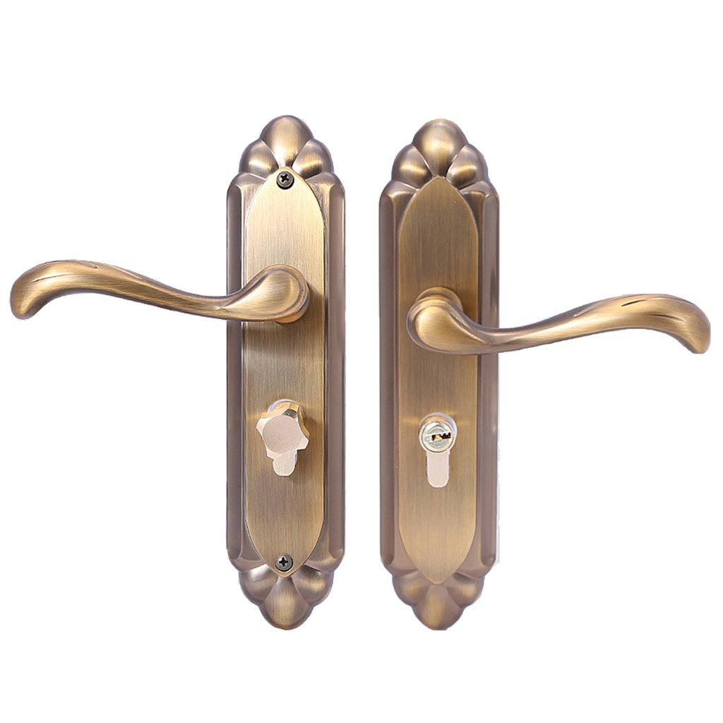 Homyl Privacy Lever Handle Knob Door Lock Cylinder Lockset Bedroom Bathroom Brass