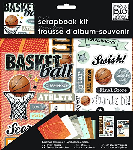 me & my BIG ideas Scrapbook Page Kit, Basketball, 8-Inch by 8-Inch