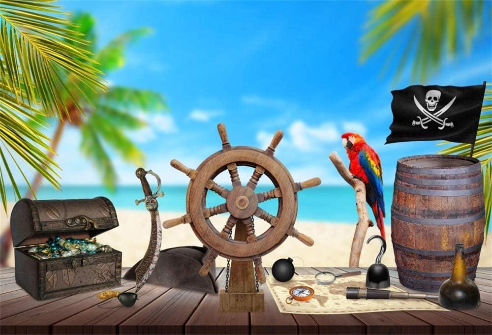 YongFoto 1,5x1m Vinilo Fondo de fotografía Mesa de Madera Pirata Rueda de la Nave Mapa del Tesoro Ron Brújula Cuchillo Palmera Playa Telón de Fondo de ...