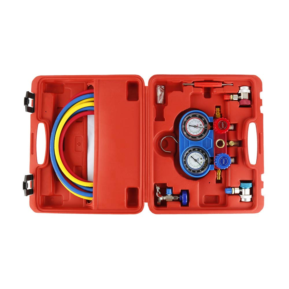 Man/ómetro para Circuitos de Aire Acondicionado Man/ómetro A//C R134A con Herramienta de Manguera de Carga de 5 Pies Turefans Manometros Aire Acondicionado