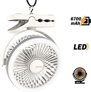 EasyAcc Camping Fan, 6700mAh Battery Camping Fan with LED Lights Tent Fan with Durable Hook and Clip 6-21H 4 Speeds Desk Fan 360° Rotation Personal Cooling Fan for Outdoors Camping Strollers Home