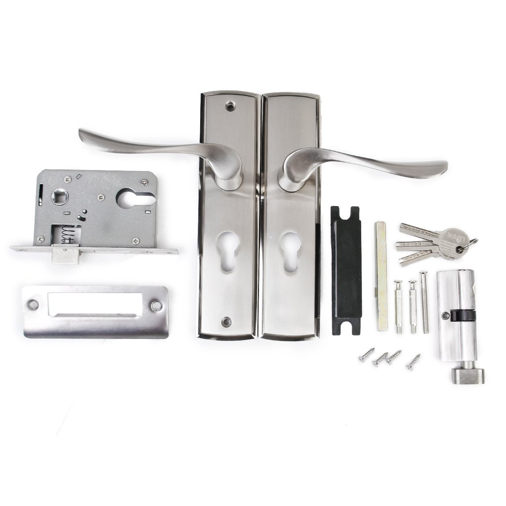 MagiDeal 6 Sets Universal Entrance Lever door handle Lock with Three keys for office or front door with a Satin Nickel Zinc Alloy Finish non-brand