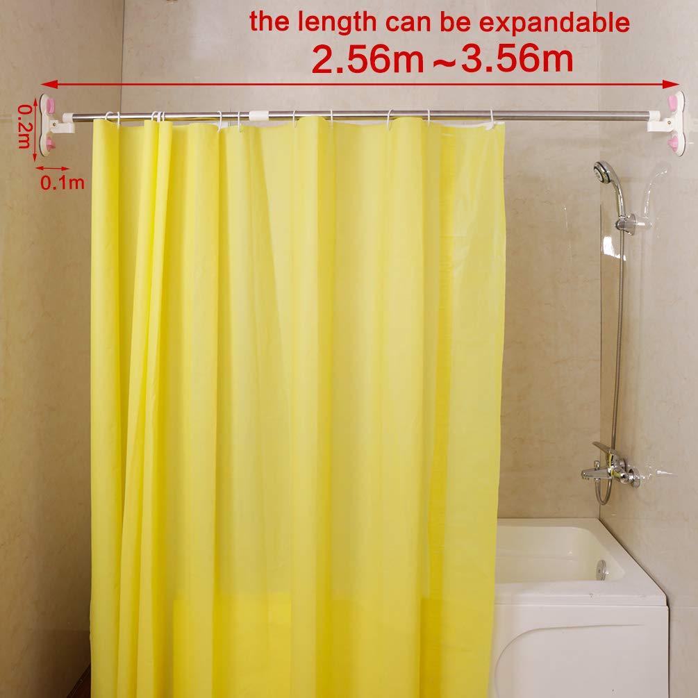 Baoyouni Expandable Bathroom Shower Curtain Rod Suction Cups Towel Bar Rail Telescopic Wash Cloth Storage Rack